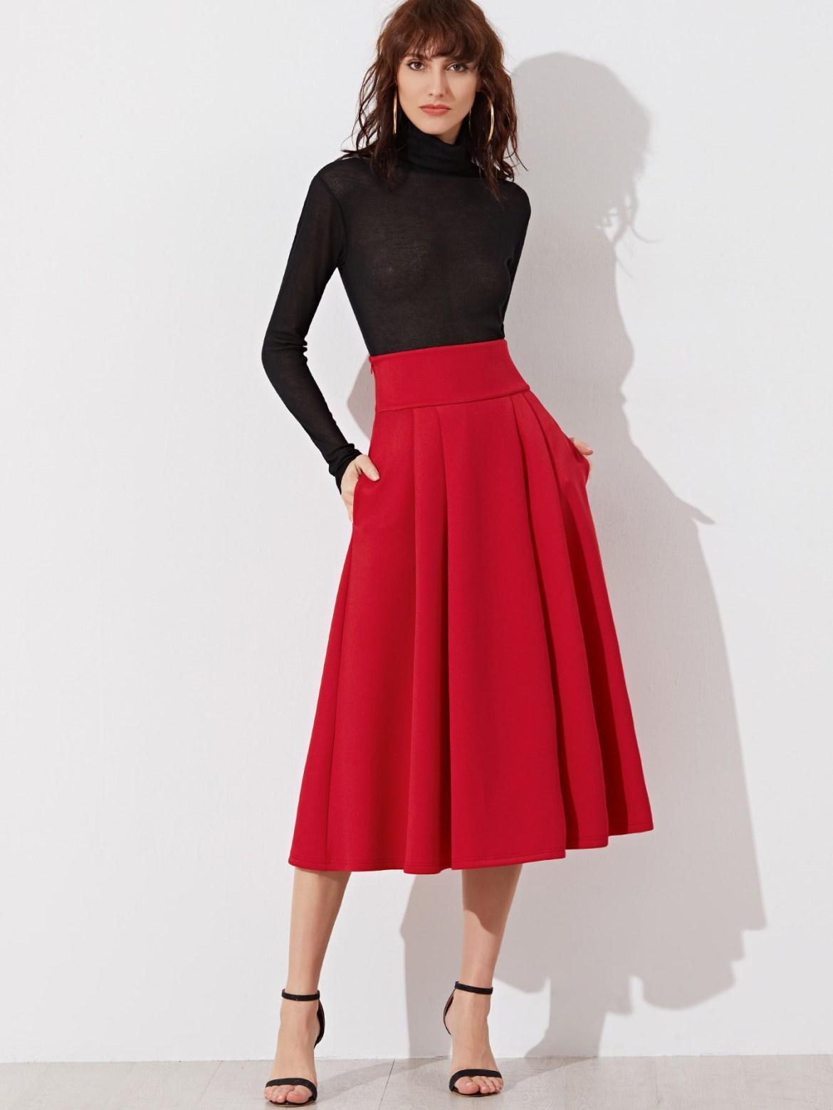 Wide Waistband Side Zip Box Pleated Midi Skirt