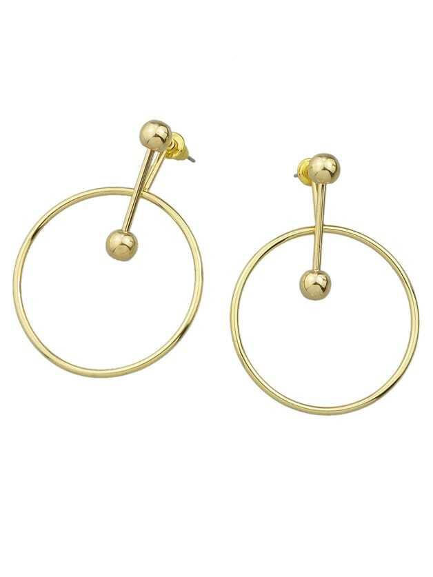 Punk Rock Gold Color Big Circle Dangle Earrings
