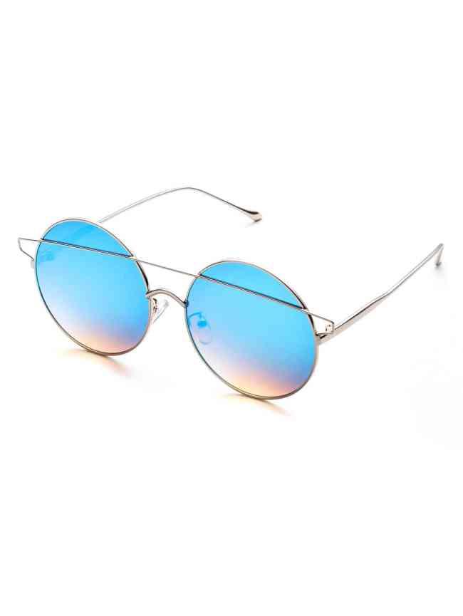 SheIn Blue Double Bridge Round Sunglasses