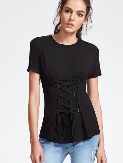 Camiseta de manga corta con cordones en la parte delantera - negro