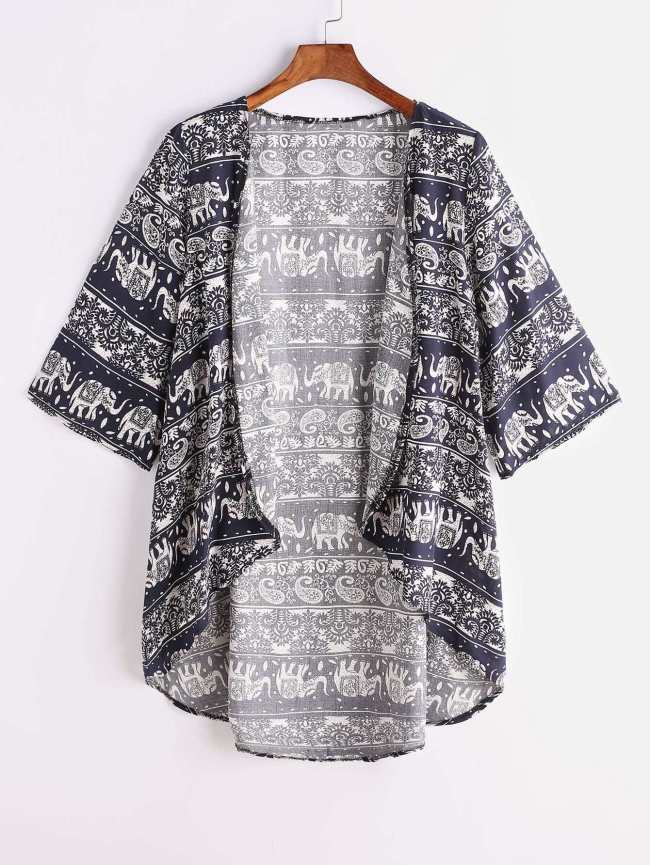 SheIn Navy Tribal Print Dip Hem Kimono