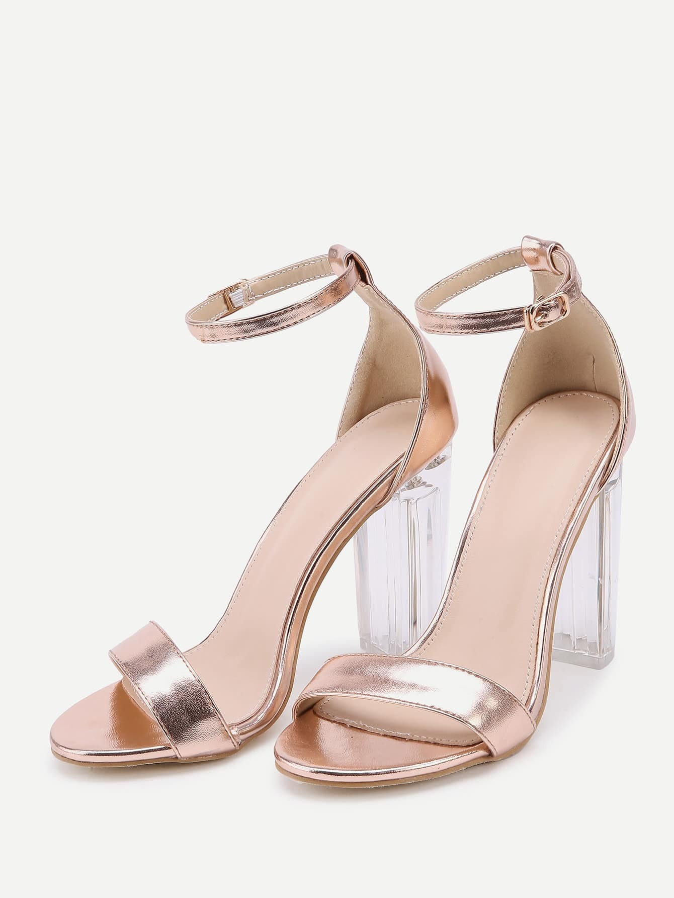 high heel shoe chair value city stool protector rose gold lucite sandals shein sheinside