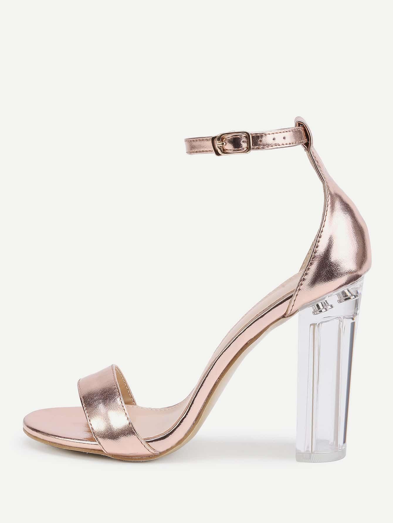 high heel shoe chair value city folding wood rose gold lucite sandals shein sheinside