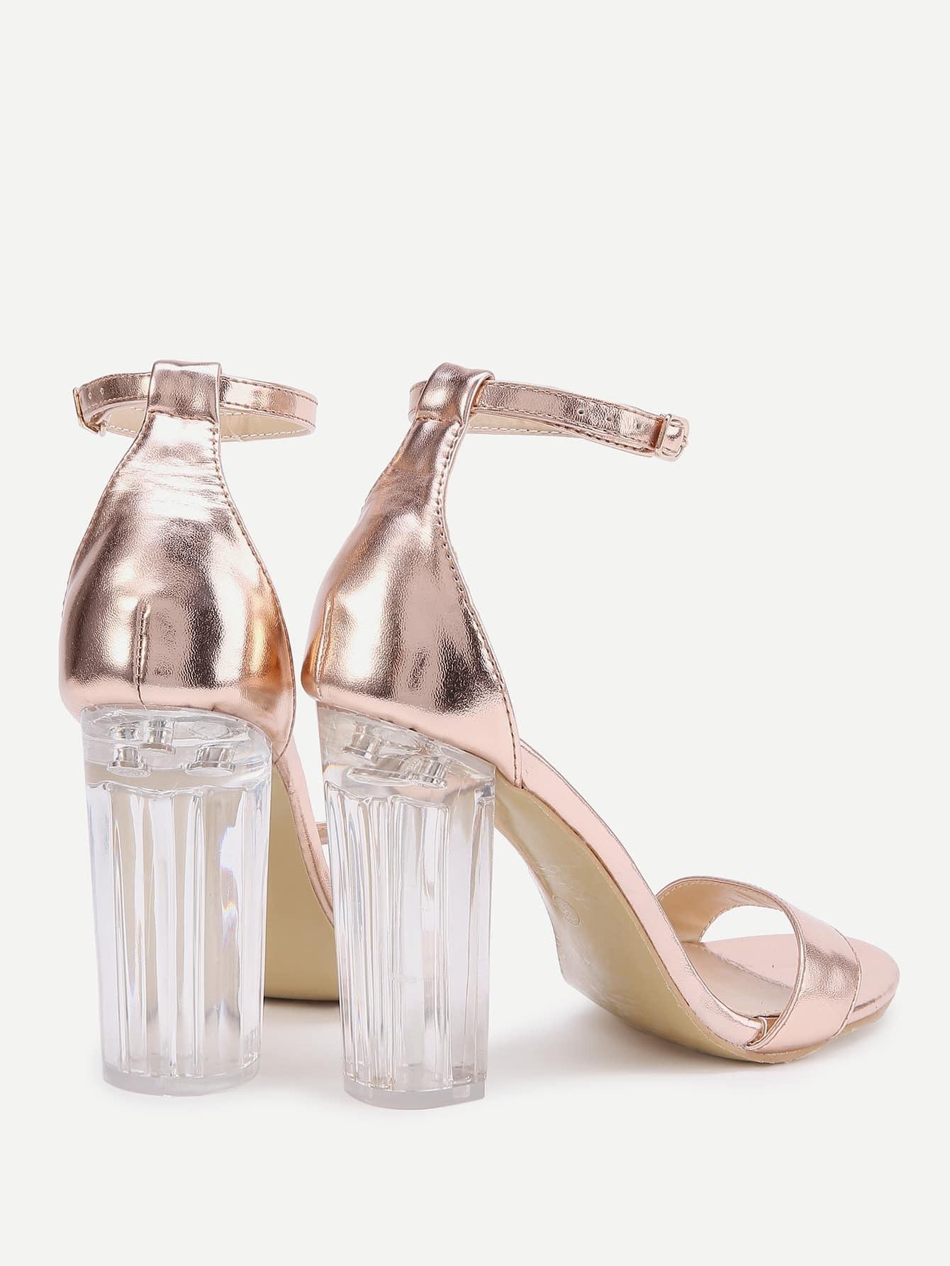 high heel shoe chair value city chairs that recline rose gold lucite sandals shein sheinside