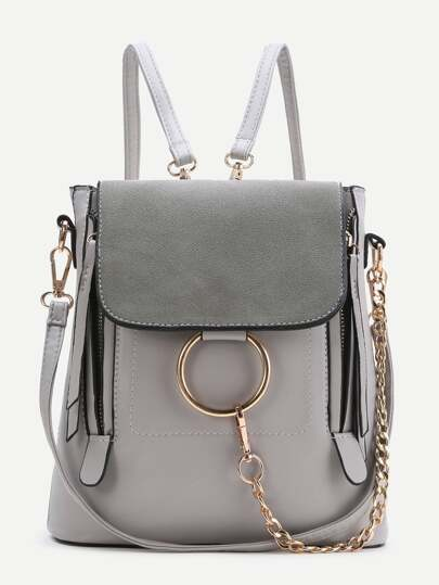 Grey Ring Design PU Backpack With Convertible Strap SheIn
