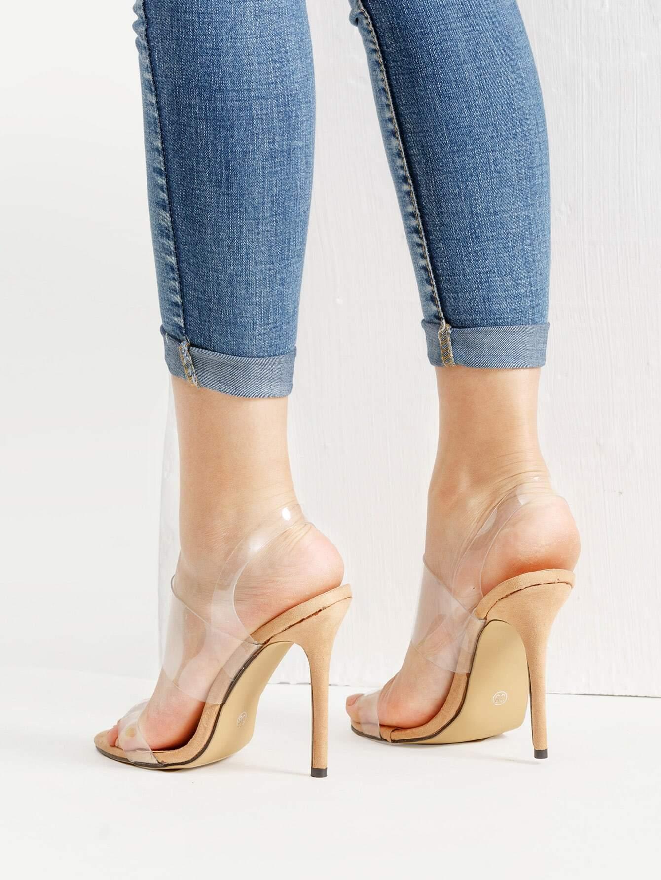 high heel shoe chair value city menards porch chairs clear strap stiletto sandals shein sheinside
