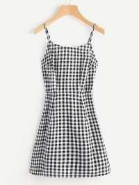 Open Back Princess Seam Gingham Cami Dress -SheIn(Sheinside)