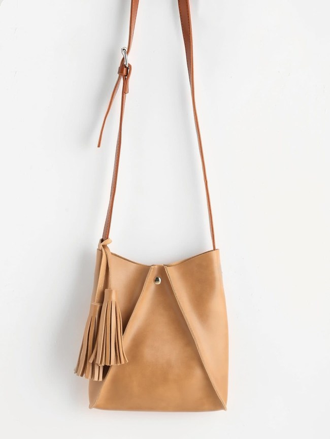 SheIn Tassel Detail PU Crossbody Bag