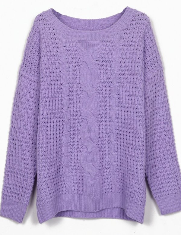 Purple Neck Cable Knitting Jumper Sweater -shein