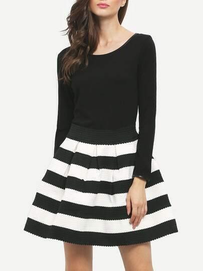 Black White Striped Three Quarter Length Sleeve Stripe Dress pictures