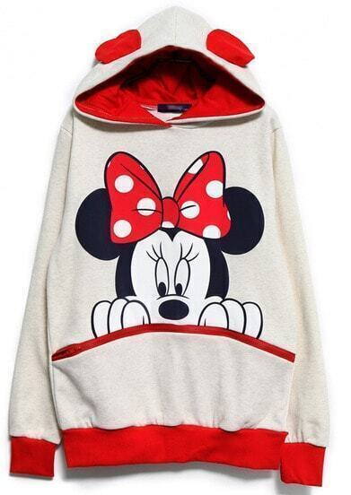 White Red Long Sleeve Mickey Hooded Sweatshirt pictures