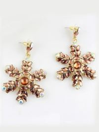 Yellow Gemstone Gold Snowflake Earrings -SheIn(Sheinside)