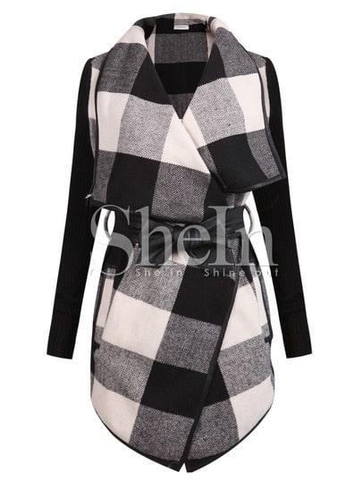 Black White Long Sleeve Plaid Belt Coat pictures