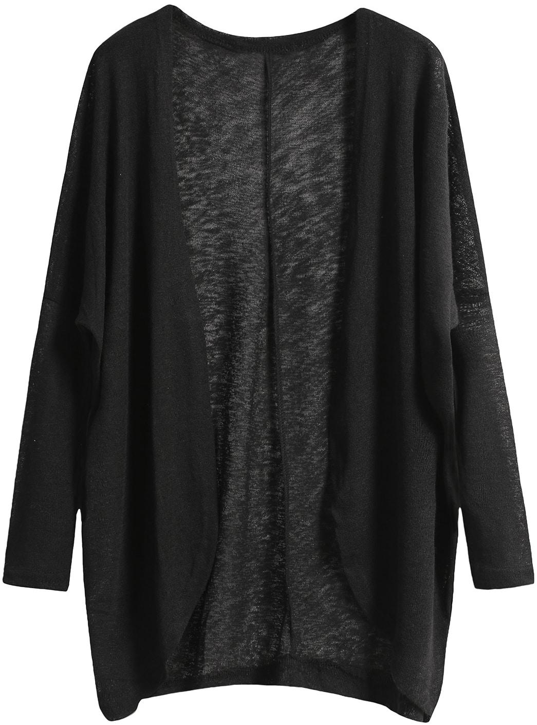 Black Long Sleeve Loose Knit Cardigan SheInSheinside