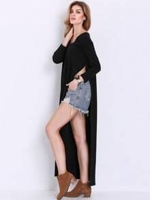 Black Long Sleeve Split T-shirt