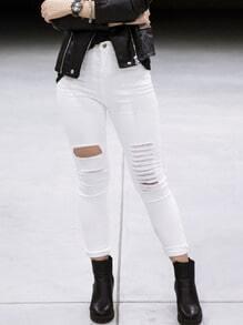 White Ripped Slim Denim Pant