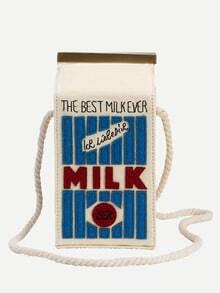 Bolso leche dibujos hombro-blanco