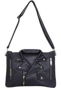 Bolso hombro con cremallera forma de ropa-negro