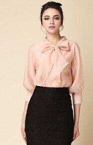 Blusa manga larga cuello de lazo-rosa