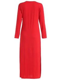 Red Long Sleeve Split Ankle Length Dress -SheIn(Sheinside)