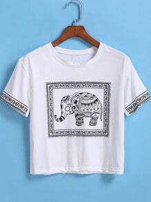 Camiseta Crop elefante manga corta-blanco