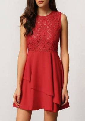 With Zipper Lace Insert Flare Red Underskirt Drop Waist Dress pictures