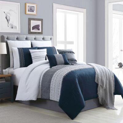 hilden 10 piece queen comforter set in navy grey