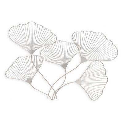 Lilly Flower Metal Wall Art in Satin Nickel from Bed Bath