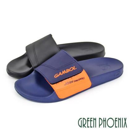 【GREEN PHOENIX】視覺系撞色英文沾黏式防水拖鞋(男款) from friDay購物 at SHOP.COM TW