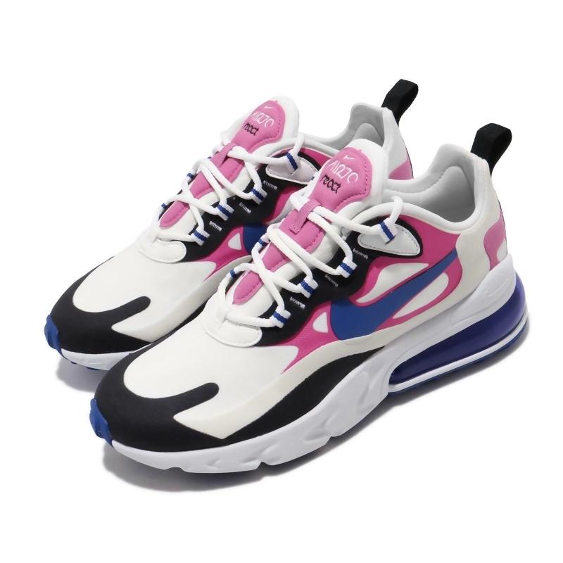 Nike 休閒鞋 Air Max 270 React 女鞋 氣墊 避震 舒適 穿搭 球鞋 輕便 白 藍 粉 CI3899100 CI3899-100 from friDay購物 at SHOP.COM TW