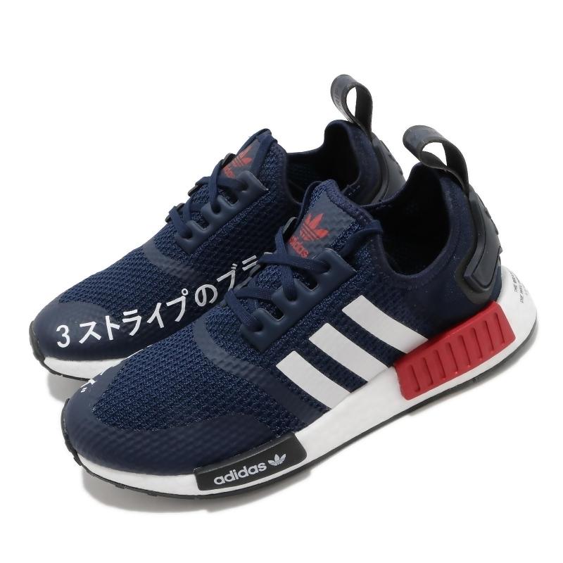 adidas 休閒鞋 NMD R1 J 大童 女鞋 愛迪達 BOOST 舒適 球鞋 日文 藍 紅 FV1693 FV1693 from friDay購物 at SHOP.COM TW