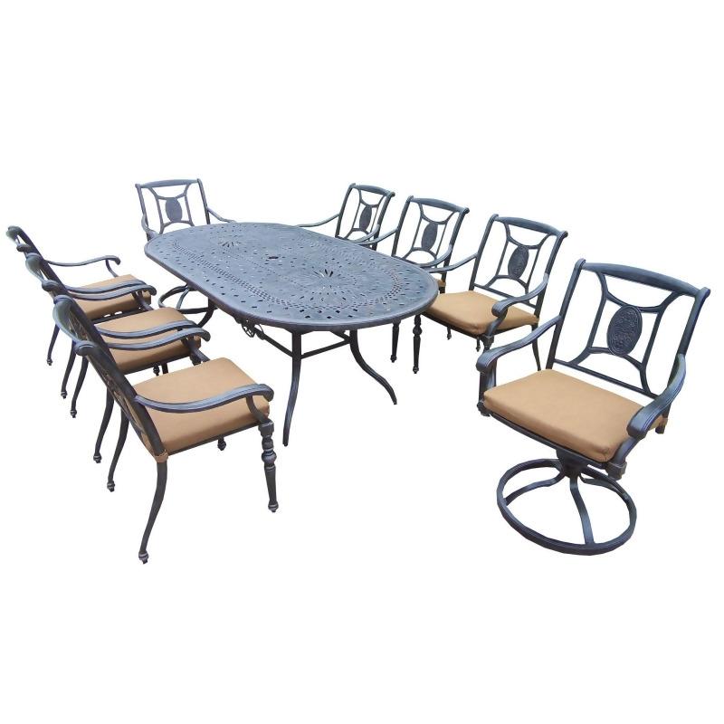 9 piece black aluminum outdoor furniture patio dining set tan cushions