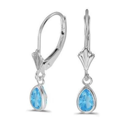 Blue Topaz Dangling Drop Lever-Back Earrings 14K White