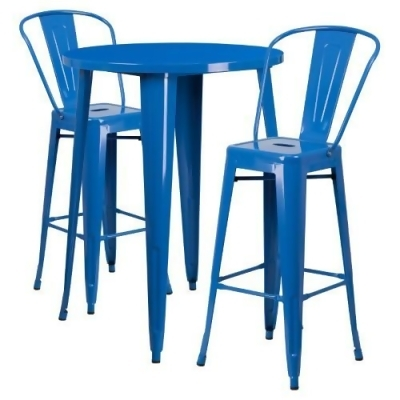 outdoor bar table and chairs fishing bed chair elastic flash furniture 30 in round metal indoor set with 2 splat back barstools from jet com at shop