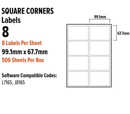 A4 Address Labels Sticky Self Adhesive 8 Per Sheet for Inkjet Laser 99.1mm x 67.7mm 8 Per A4 Sheet - 99.1 X 67.7 mm - L7165 - Avery / 500 Sheets ...