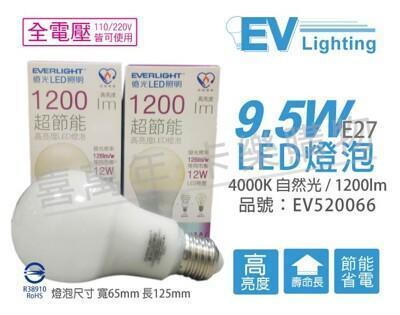 everlight億光led 9.5w 4000k 自然光 全電壓 e27 節能 球泡燈 from 松果購物 at SHOP.COM TW