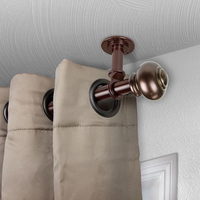 rod desyne rotunda ceiling curtain rod brown