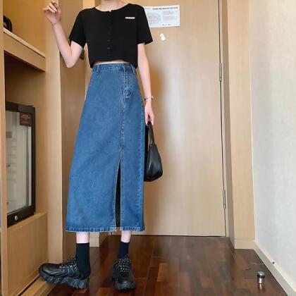 開衩不規則牛仔長裙 from MYDRESS at SHOP.COM TW