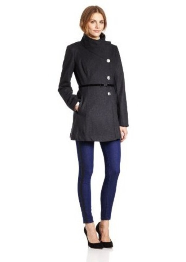 Jessica Simpson Women' Side Button Coat With Bow Belt Outerwear