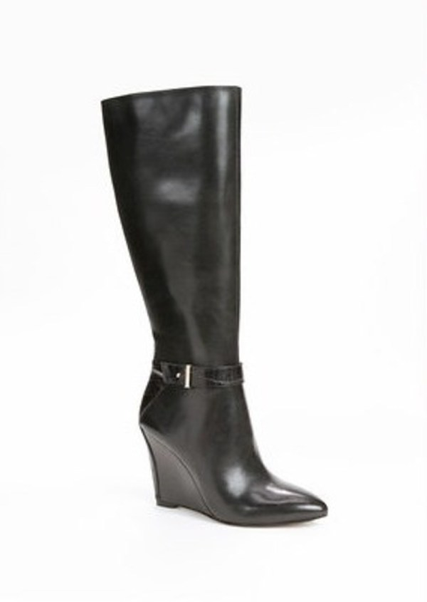 Ann Taylor Finley Leather Wedge Boots Shoes