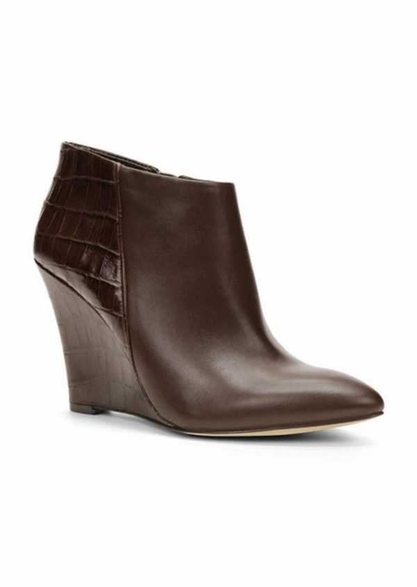 Ann Taylor Lottie Leather Wedge Boots Shoes