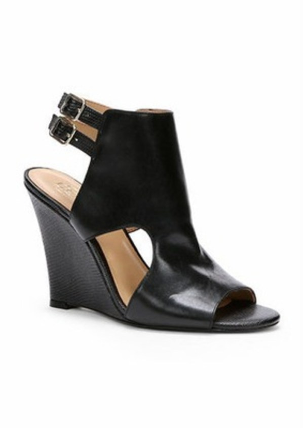 Ann Taylor Maura Leather Peeptoe Wedges Shoes
