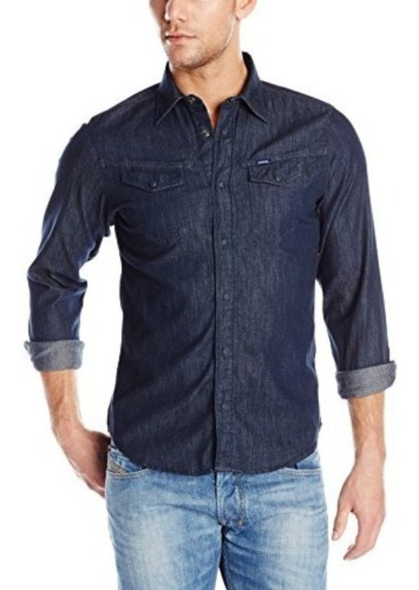 Diesel Men' Rupert Denim Snap-front Shirt Casual