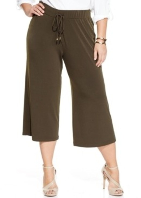 Jones York Signature Size Cropped Wide-leg Pants Casual