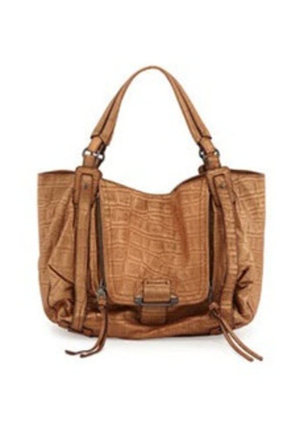 Kooba Jonnie Croc-embossed Hobo Bag Tan Handbags