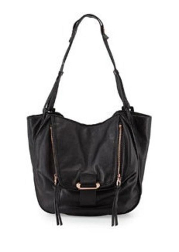 Kooba Zoey Slouchy Pebbled Leather Tote Bag Black