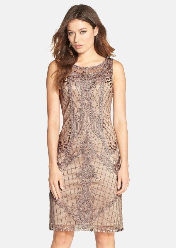 Sue Wong Embroidered Sheath Dress Dresses