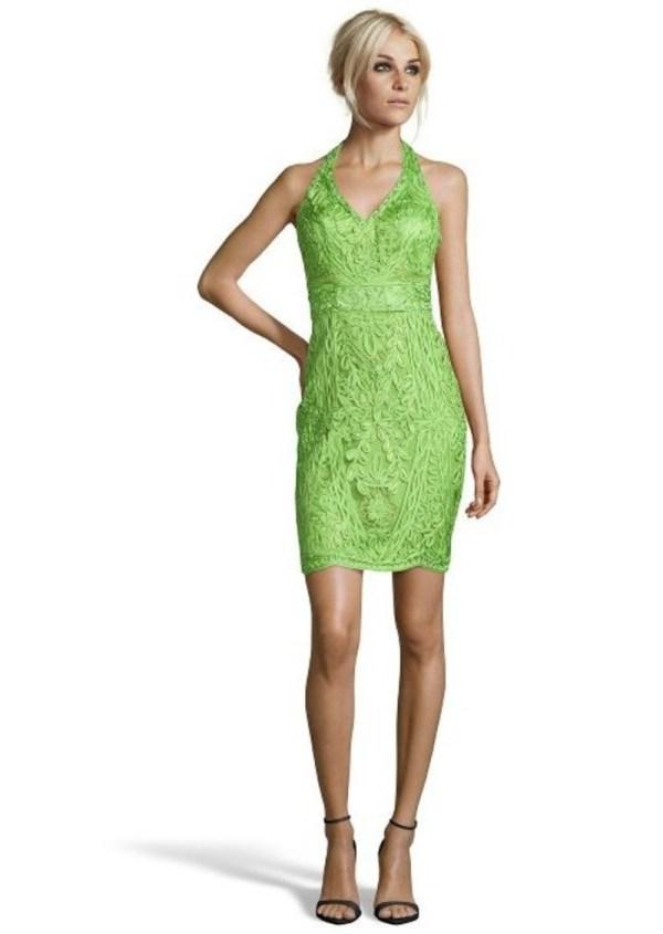 Sue Wong Emerald Green Woven Floral Detail Halter