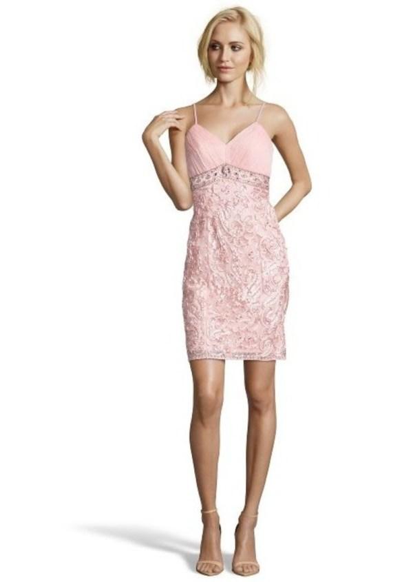 Sue Wong Light Pink Bead Embellished -neck Dress