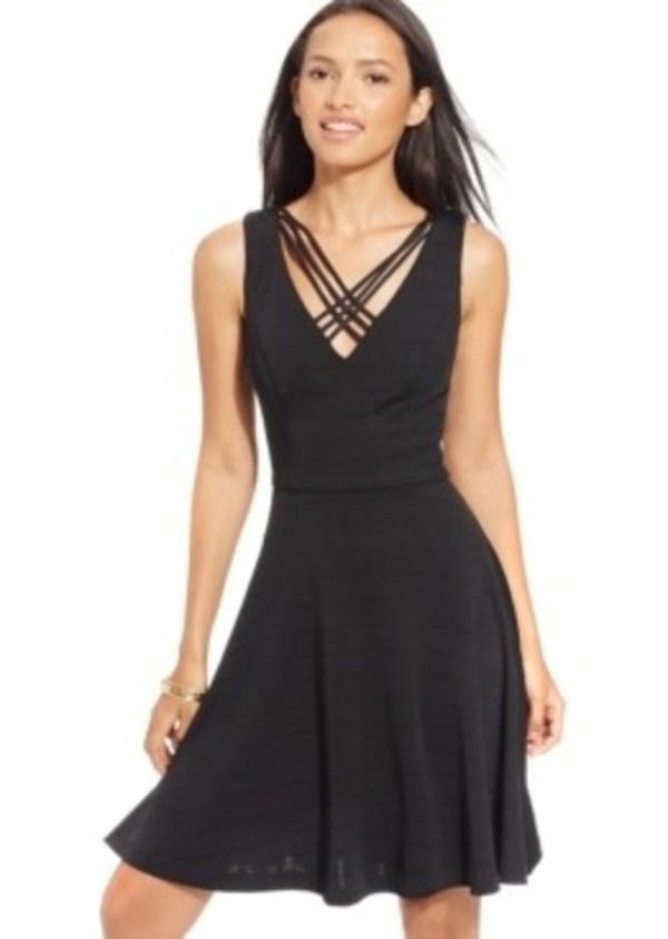 Xoxo Juniors' Textured Crisscross Fit-and-flare Dress Dresses